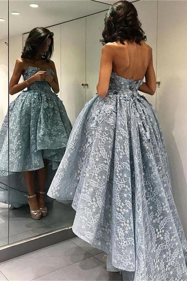 Short Front Long Back Lace Prom Dresses,Modest Evening