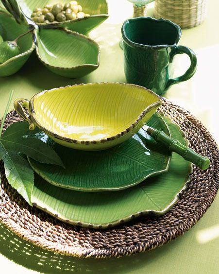 Love the leaf shaped plates and bowls.  http://www.annabelchaffer.com/categories/Dining-Accessories/