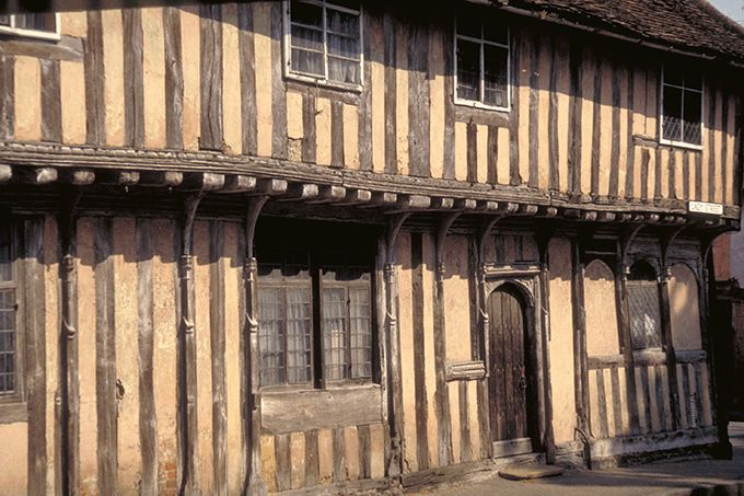 This half-timbered building in medieval Lavenham is one of ...