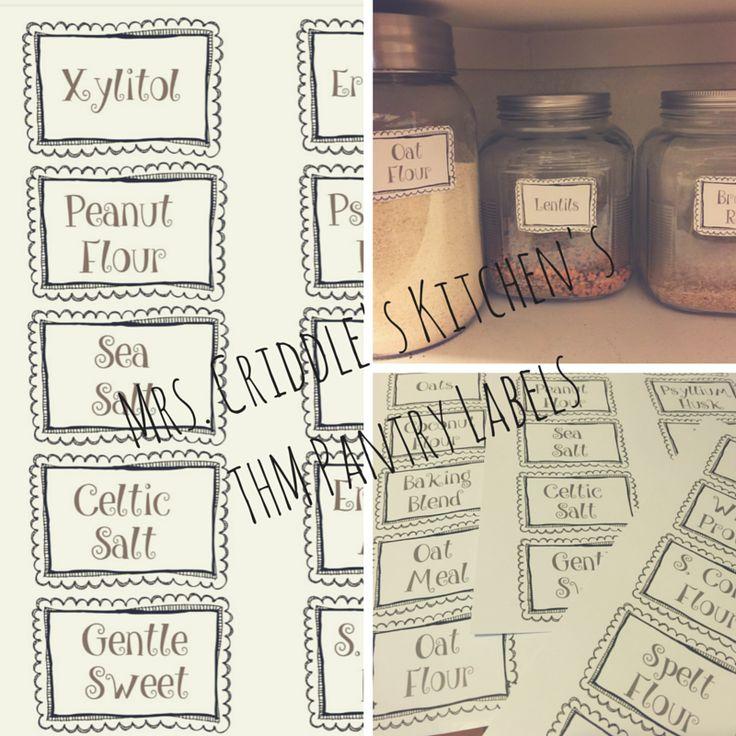 FREE Trim Healthy Mama Pantry Labels