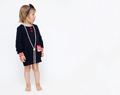 BLACK FRIDAY Etsy Girls autumn long sleeves dress navy blue Children clothing  Size 3-4 years