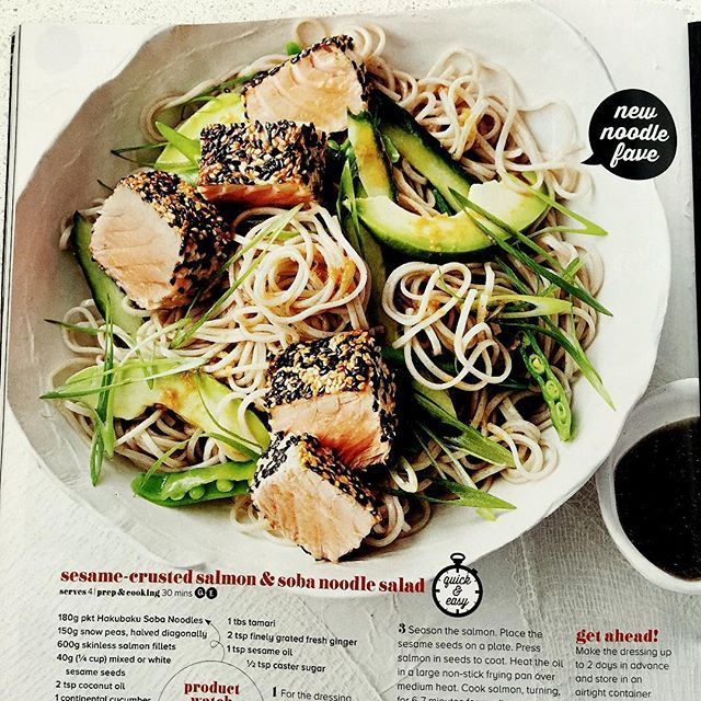 Thank you @taste_team Magazine for featuring my bowl filled with a sesame-crusted salmon & soba noodle salad! Nice surprise!  🙏 #allfiredup