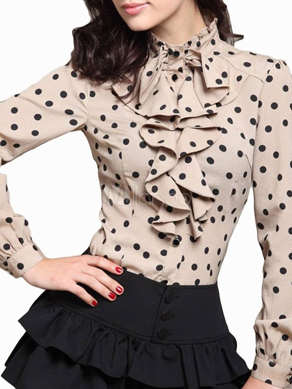 Long Sleeves Polka Dot Cotton Comfortable Woman's Blouse - Milanoo.com