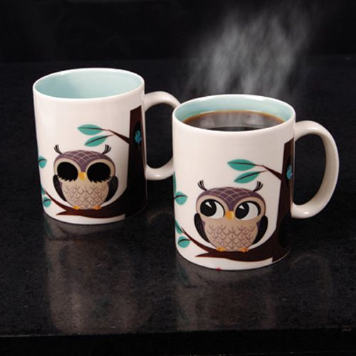 owl mug ♥ sleepy owl wakes up when you pour hot coffee in . I flipping need this!! :)