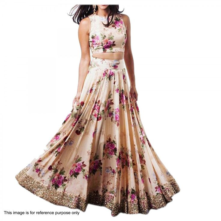 Buy Dark Cream Floral Crop Top Lehenga for womens online India, Best Prices, Reviews - Peachmode