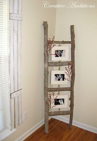 homemade ladder display  - I love this.  I can also SO see this in my sister-in-law's house.  <3 u Marisa