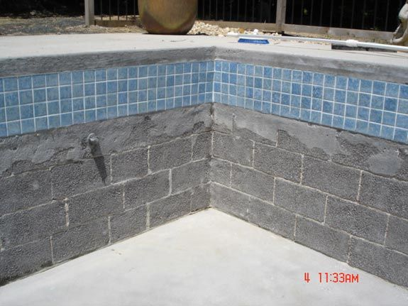 Concrete block pool swimming pool references poolside for Concrete swimming pool construction