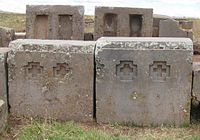Pumapunku is part of a large temple complex or monument group that is part of the Tiwanaku Site near Tiwanaku, Bolivia.