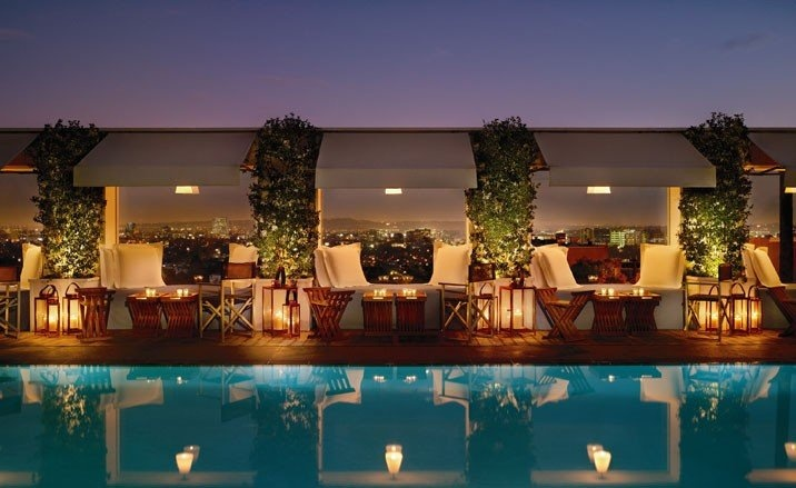 The Sky Bar at The Mondrian hotel, LA, USA. Had a great time partying with my best friends!