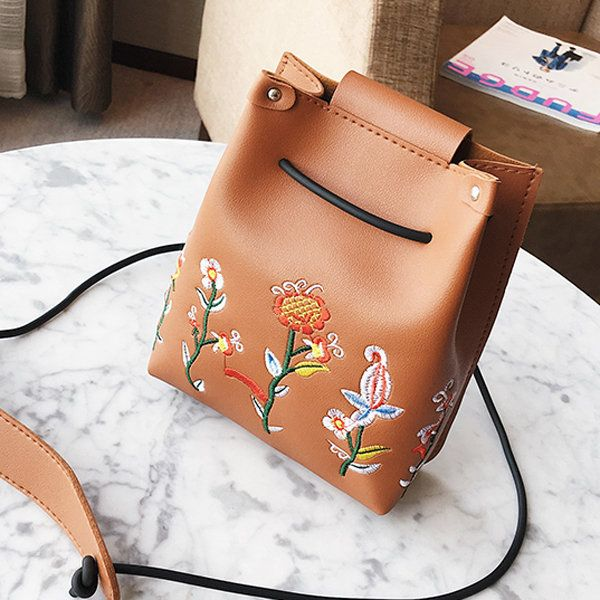 Women Floral Embroidery PU Leather Bucket Bag Mini Crossbody Bag
