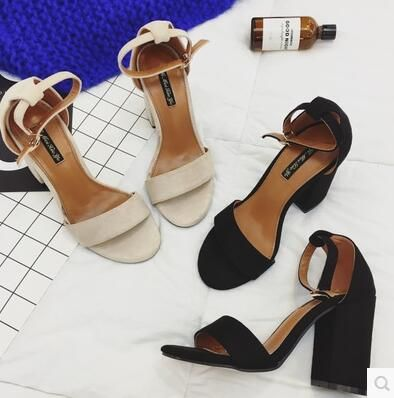 Summer Sandals Shoes Woman 2017 NEW Style Ankle Strap Women Sandals Shoes Open Toe Square High Heels Ladies Sandal Black Apricot #Affiliate