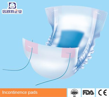 Incontinence pads with fasterner