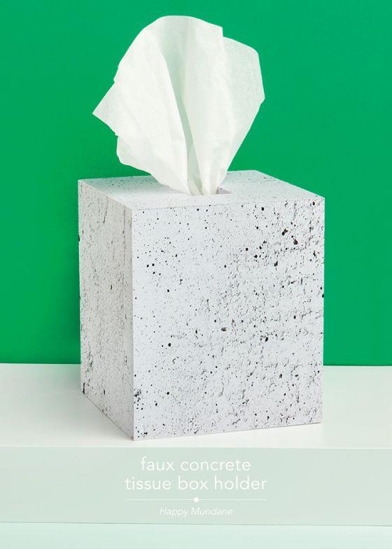Faux Concrete Tissue Box Holder
