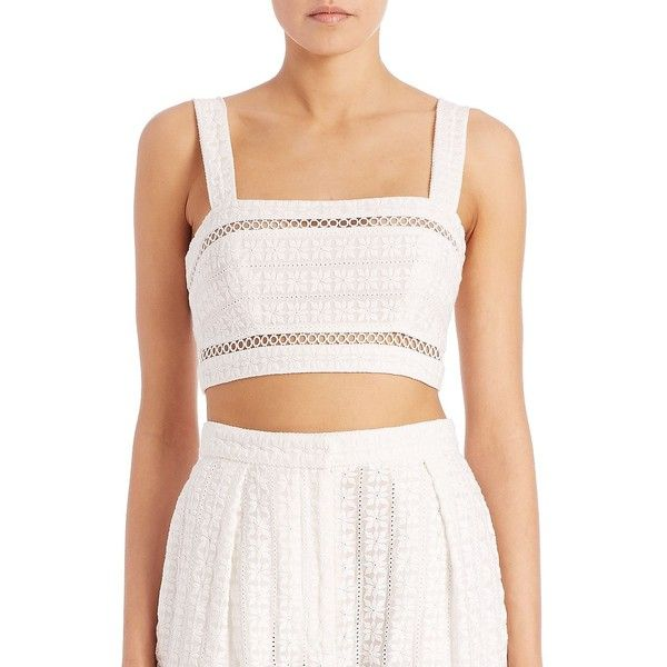 Zimmermann Swim Zephyr Broderie Bandeau Crop Top ($285) ❤ liked on Polyvore featuring tops, apparel & accessories, beige, bandeau tops, crop top, beige top, pink sleeveless top and zimmermann