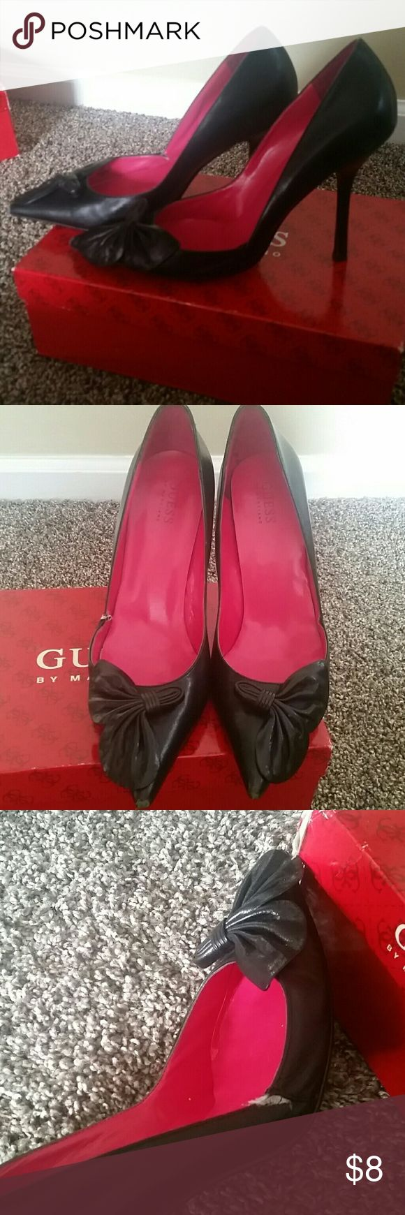 Guess by Marciano Heels Guess by Marciano black leather stiletto pumps with a small tear at the seam, shown in picture. Can easily be stitched. Price adjusted accordingly. Guess by Marciano Shoes Heels