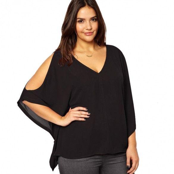 Stylish Lady Women's Casual Sexy Women V-Neck Plus Size Batwing Sleeve Blouse Chiffon T-Shirt Top