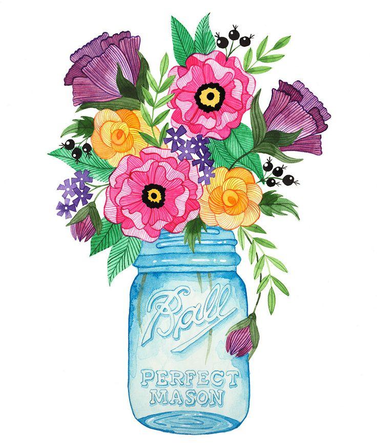 Cartoon Mason Jar With Flowers Www Imgkid Com The