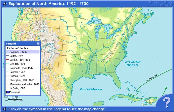 Interactive Online Map that shows the voyage routes of several major explorers who came to North America. Includes activities so that you can expand on this map and allow students to be more interactive. Allows students to relate by using a present-day map of the US. Could be used with any age, and provides a break from normal classwork.