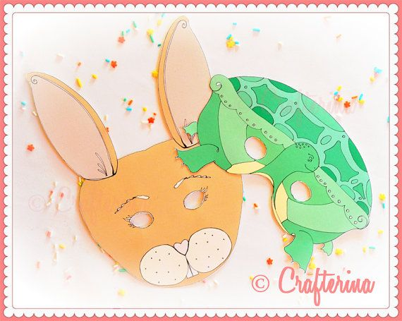 Tortoise and Hare Mask Set by Crafterina (can make these!)