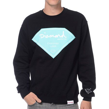 Earn your certificate of achievment and throw on the Diamond Supply Certified Lifer Crew Neck Sweatshirt in black.  This standard fit crew neck sweatshirt features a mint and white Certified Lifer diamond graphic at the center chest, a white outline diamond logo at the left sleeve cuff and a white and red Diamond Supply Co. tag at the bottom left hem.  Fleece lined with gusseted arms for comfort, the Diamond Supply Certified Lifer crew neck rolls out the diamond carpet for you.