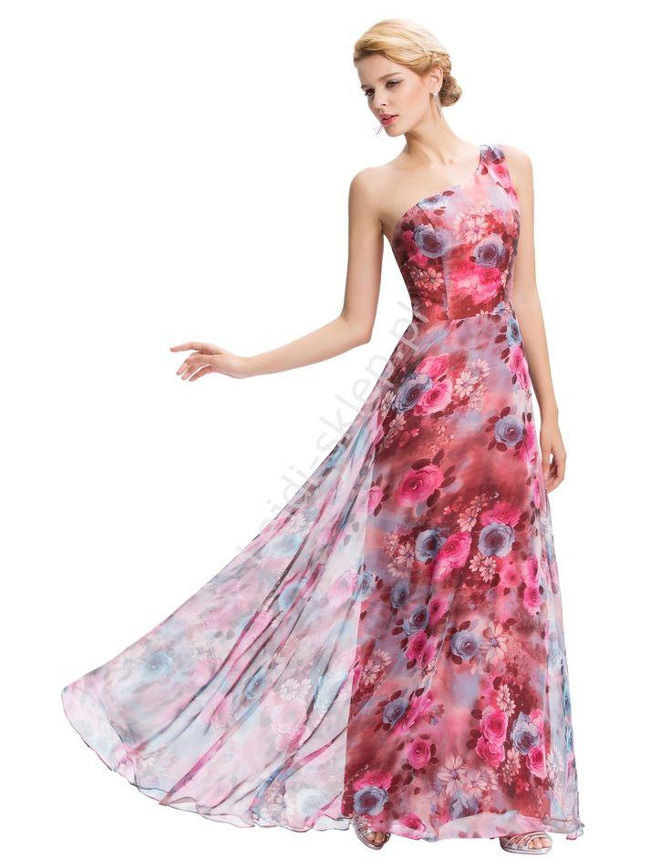 Długa suknia w róże na jedno ramię | Suknie na studniówkę wesele, dla druhen
