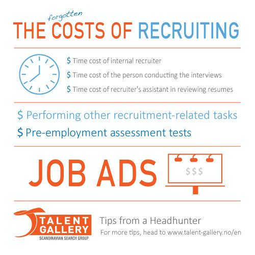 The (forgotten) costs of recruiting - Head to www.talent-gallery.no/en for more tips! #hiring #headhunting #recruiting #search #executivesearch #selection