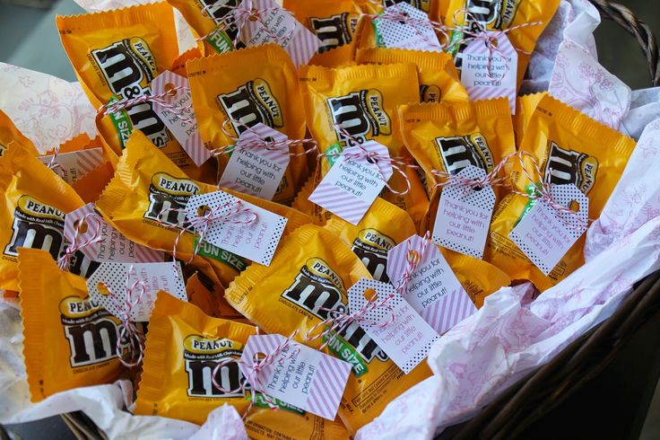 """Gifts for the nurses (bag of peanut M&Ms with tag reading """"thanks for helping with our little peanut"""""""
