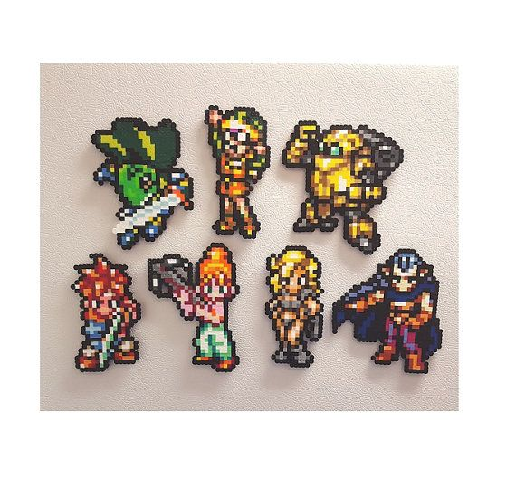 Chrono Trigger Perler, Pixel Art Bead Sprites, Crono, Marle, Lucca, Robo, Frog, Magus, SNES RPG, Ayla, Lavos, CT, Crono Trigger