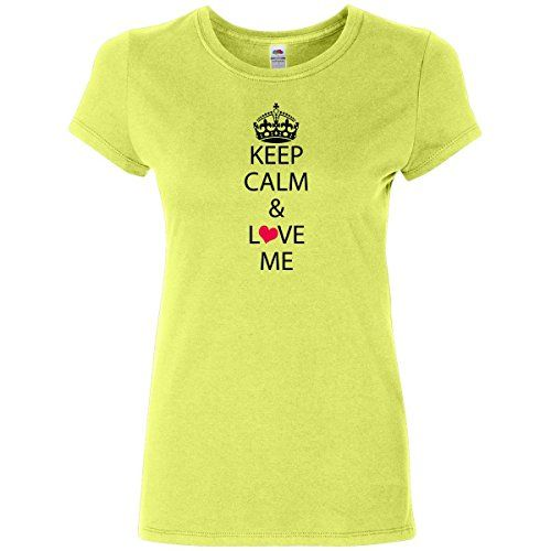 Inktastic Women's Keep Calm & Love Me Junior Fit T-Shirt Large Citrus Green