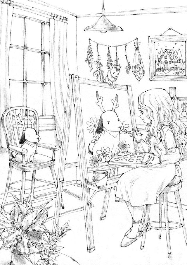 숲소녀일기 컬러링 시리즈 숲소녀일기 시리즈를 컬러링시트로 만나보세요 귀엽고 사랑스러운 모습들이 가득한