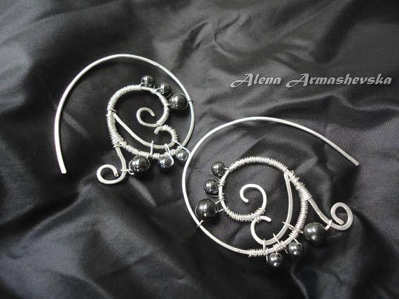 Pull through earrings Sterling silver hoop earrings Wire