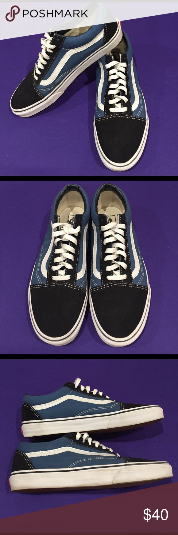 Vans Old Skool Low Top Blue & White Classic Vans Old Skool (School) men's sneakers. Blue canvas sides, white leather stripe, navy suede heal and toe. Pristine, like new condition (worn twice). Not stinky. Men's size 12. Vans Shoes Athletic Shoes
