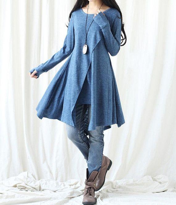 Asimétrica de algodón camiseta vestido largo / largo por MaLieb