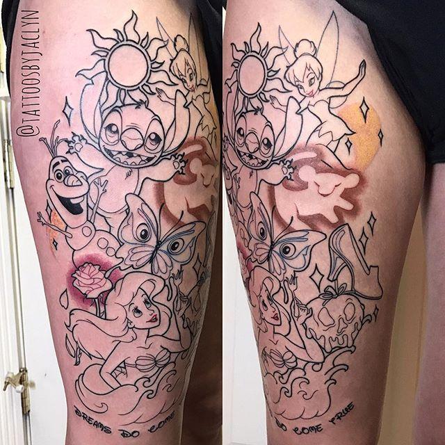 Stiched Leg Tattoo: Disney Thigh Tattoo, Leg Tattoos, Disney