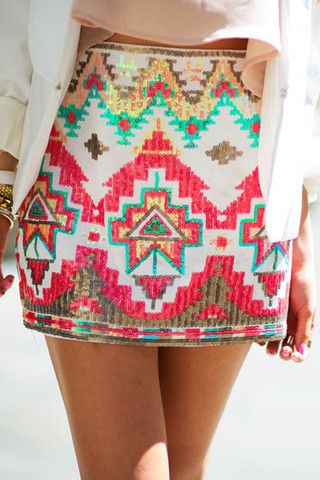 TRIBAL SEQUIN SKIRT - White/Coral Knee length is more my style. I love the pattern.