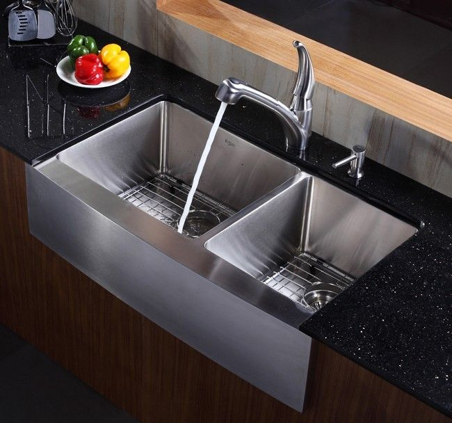 Kraus  Inch Farmhouse Apron   Double Bowl Stainless Steel Kitchen Sink Khf