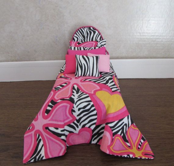 Doll Bed for AG Mini Caroline Chelsea 6 inch Doll Pink Zebra Reversible Bedspread White Tufted Mattress Pillows Headboard $11.99 @Handmade by Hill/boards