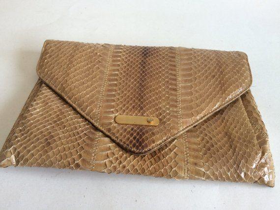 Vintage 1950's 60's Snake Skin Clutch Purse by Coret Acc