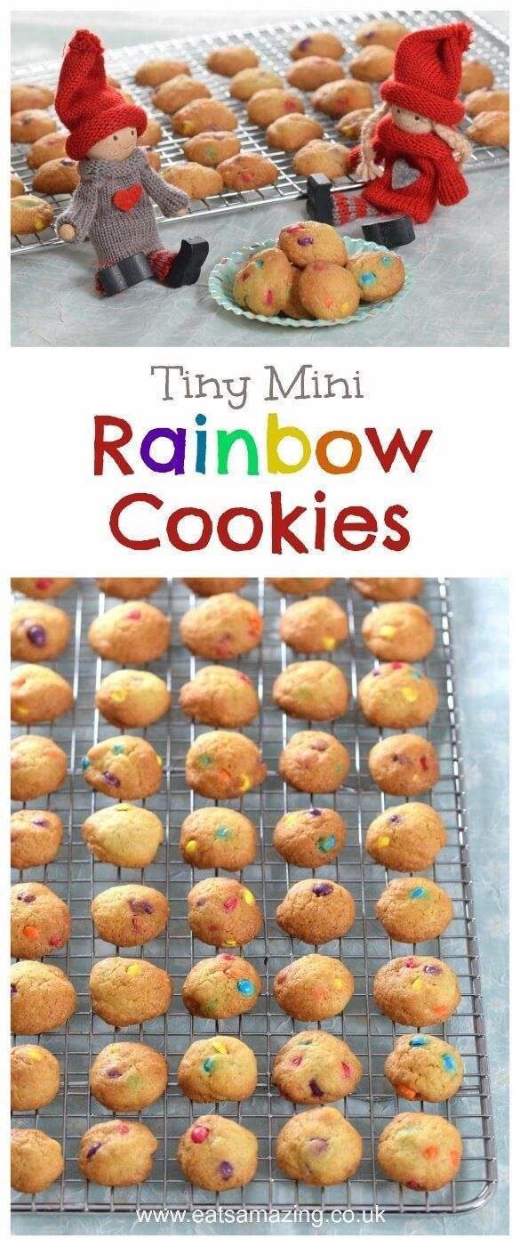 How to make mini rainbow cookies - cute food idea and fun baking project for kids