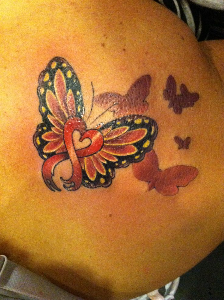 My new tattoo heart disease ribbon to honor my dad and for Heart ribbon tattoo