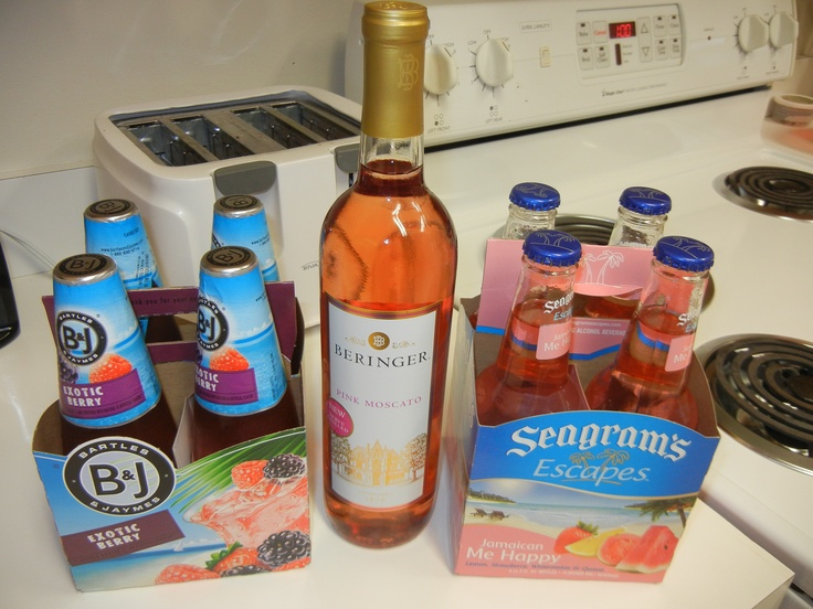 Under $5 each  Mildly sweet/lightly fruity  Bartles and James - Exotic Berry wine coolers  Beringer - Pink Moscato wine  Seagram's - Escapes Jamaican Me Happy wine coolers