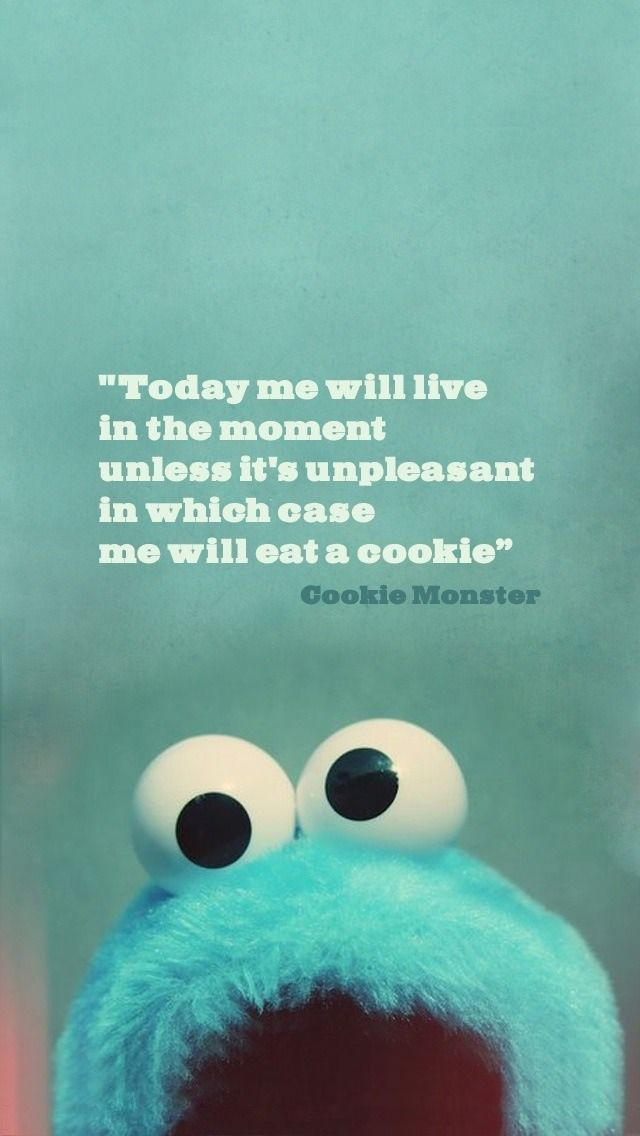 This seems like a good philosophy to live by. Words of wisdom. Thank you, Cookie Monster.