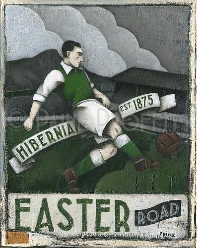 One off, original acrylic painting on stretched thin edge canvas by artist Paine Proffitt entitled Hibernian. Inspired by Hibernian FC scottish football team. S