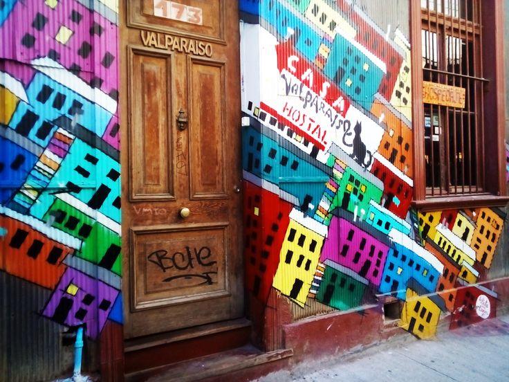 Grafiti on a hostels wall in valparaiso , streetart, painting, art