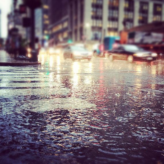 Pouring Rain on 42nd Steet, New York City