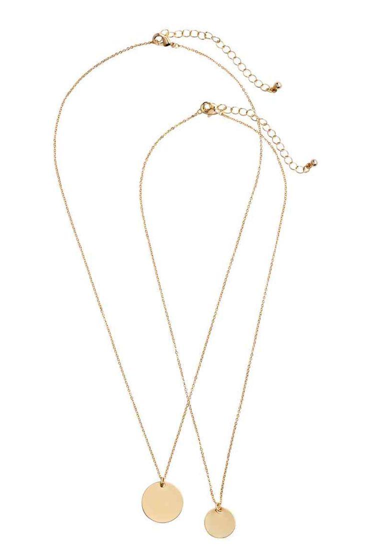 Set van 2 halskettingen - Goudkleurig - DAMES   H&M BE 1