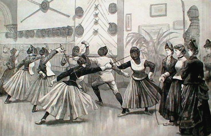 z- Woman Practicing at Fencing Club w Foils, c 1880 -2b
