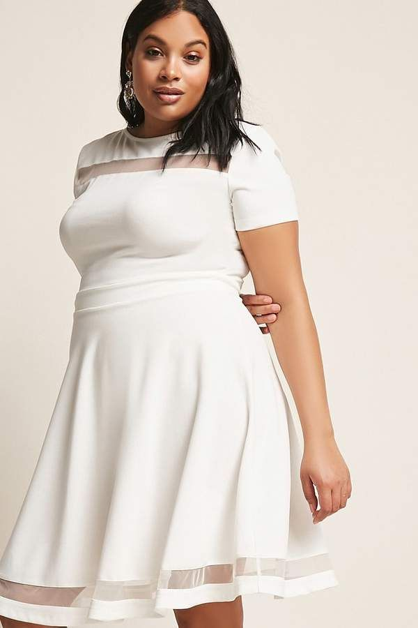 FOREVER 21+ Plus Size Mesh-Panel Fit & Flare Dress | Party ...