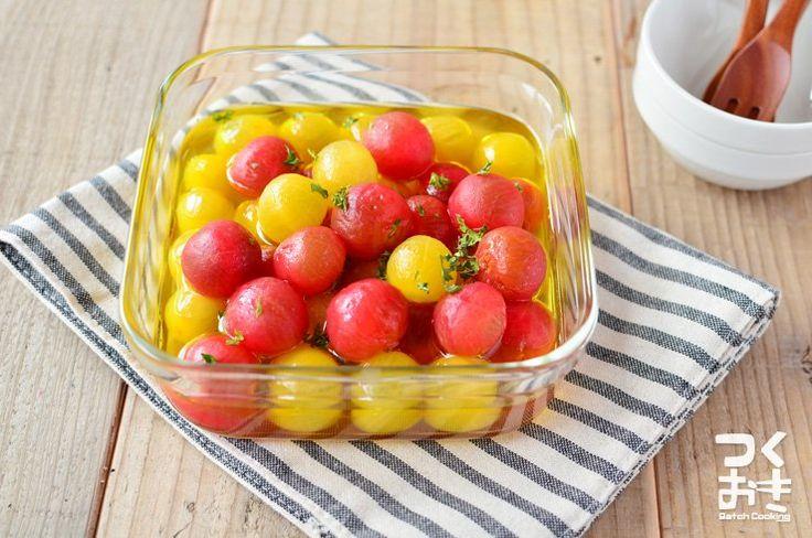 プチトマトが安い季節に作る常備菜。栄養価の高いトマトをさっぱり食べられます。見ためがかわいいのでおもてなしの1品にするのもオススメ。はちみつと砂糖の分量はお好みで調整して下さいね。