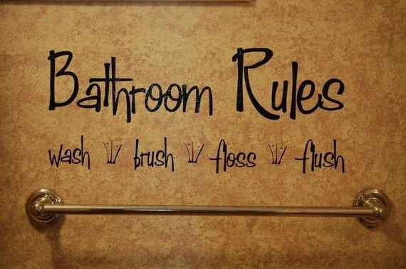 Bathroom RulesVinyl Wall Decal by KreativeCorner on Etsy